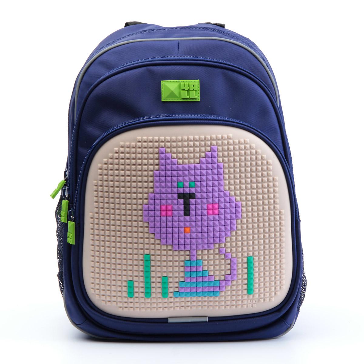 Рюкзак детский 4all KIDS Сиреневый кот Темно-синий + Пиксели<br>