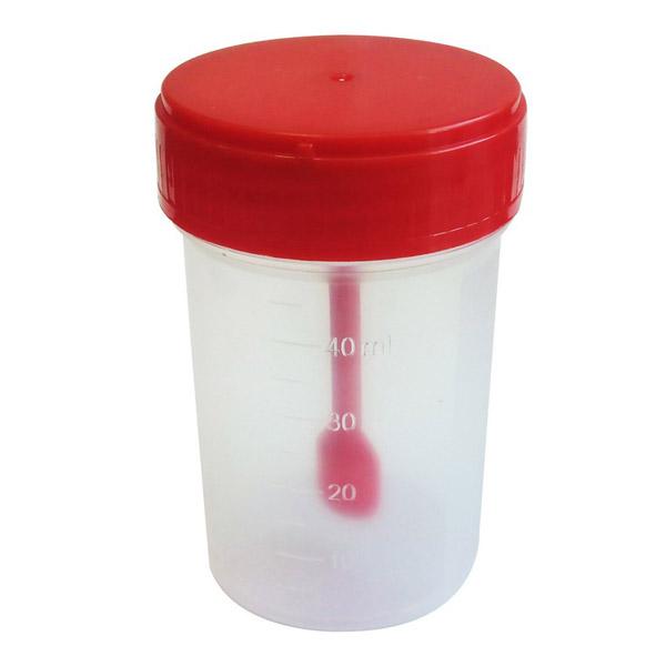 Контейнер стерильный Клинса для биоматериалов с крышкой + ложка-шпатель  60 мл<br>