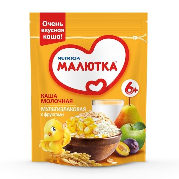 Каша Малютка молочная 220 гр Мультизлаковая с фруктами (с 6 мес)<br>