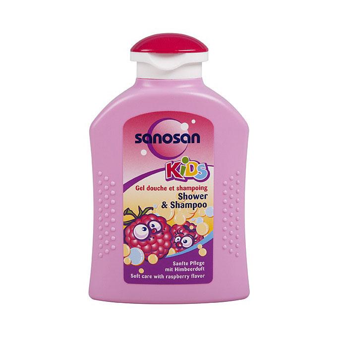 Гель для душа и шампунь Sanosan Kids 2в1 200 мл с ароматом малины<br>