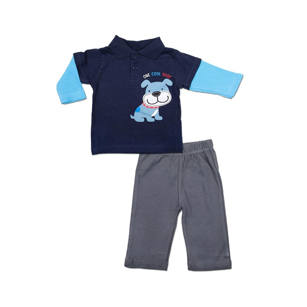 Комплект Bon Bebe Бон Бебе для мальчика: футболка-поло и штанишки, цвет темно-синий/серый 6-9 мес. (66-76,2 см)