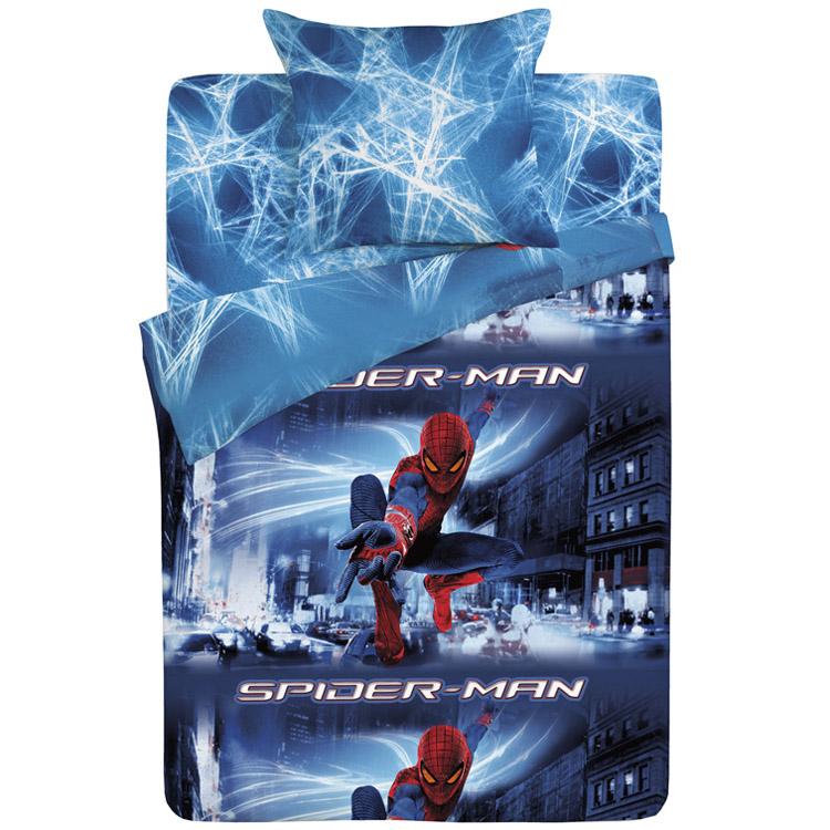 Комплект постельного белья детский Letto Человек-паук 1.5 спальный с наволочкой 50х70<br>