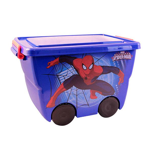 Ящик для игрушек Idea на колёсах Человек паук Синий<br>