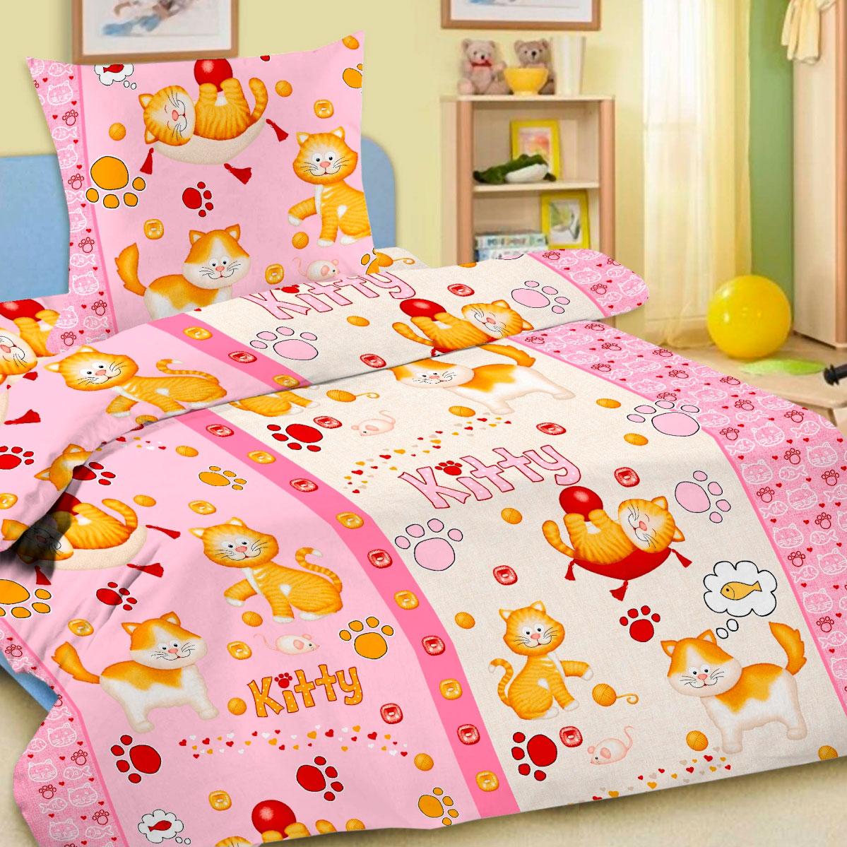 Комплект постельного белья детский Letto с наволочкой 50х70 Китти Розовая<br>