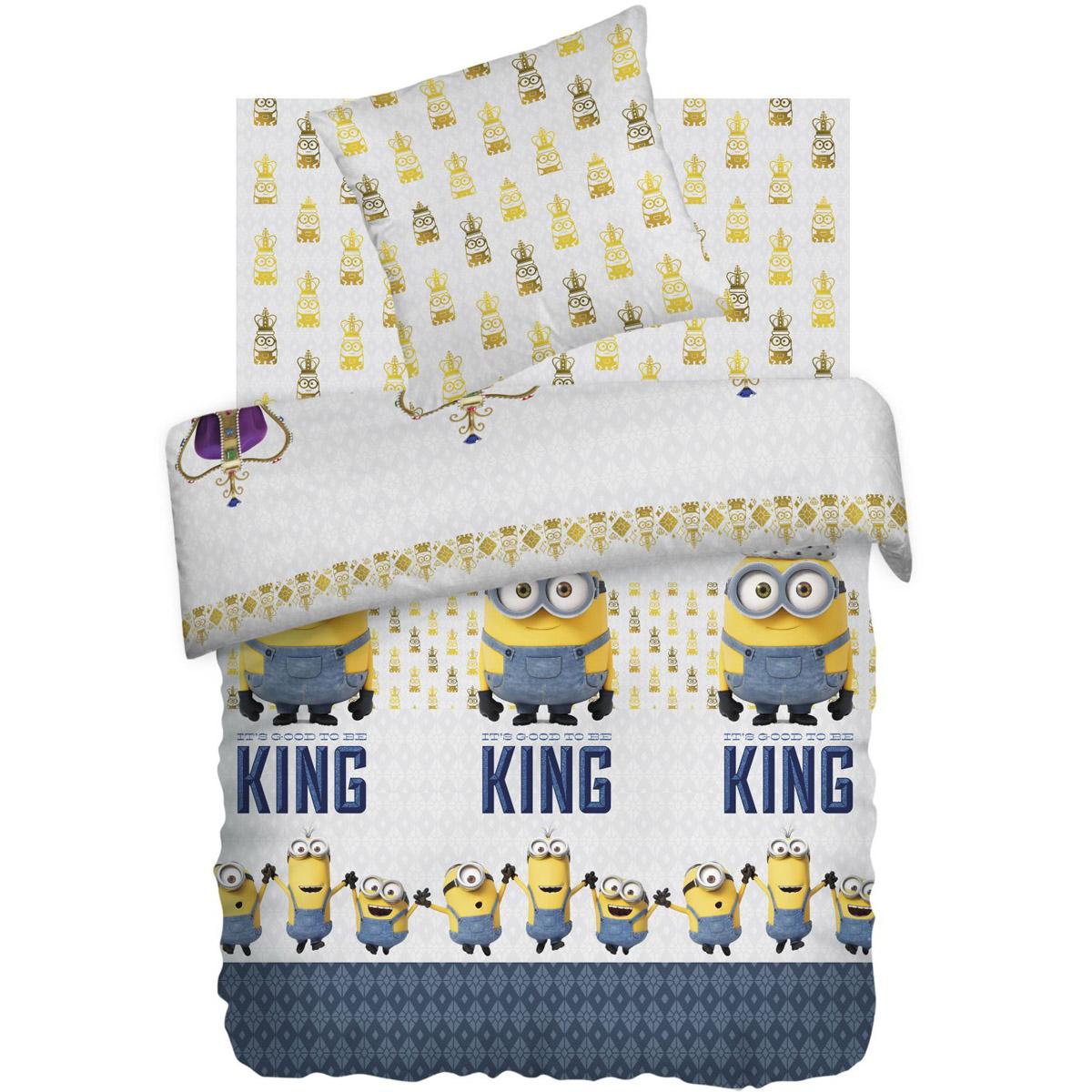Комплект постельного белья детский 1.5 бязь Непоседа Миньоны с наволочкой 70х70 Кинг<br>