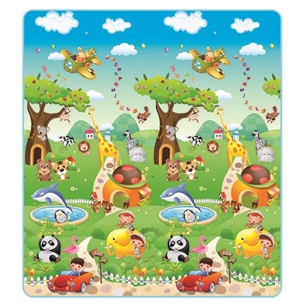 Детский развивающий коврик Mambobaby односторонний Прогулка по Зоопарку 200х180х1<br>