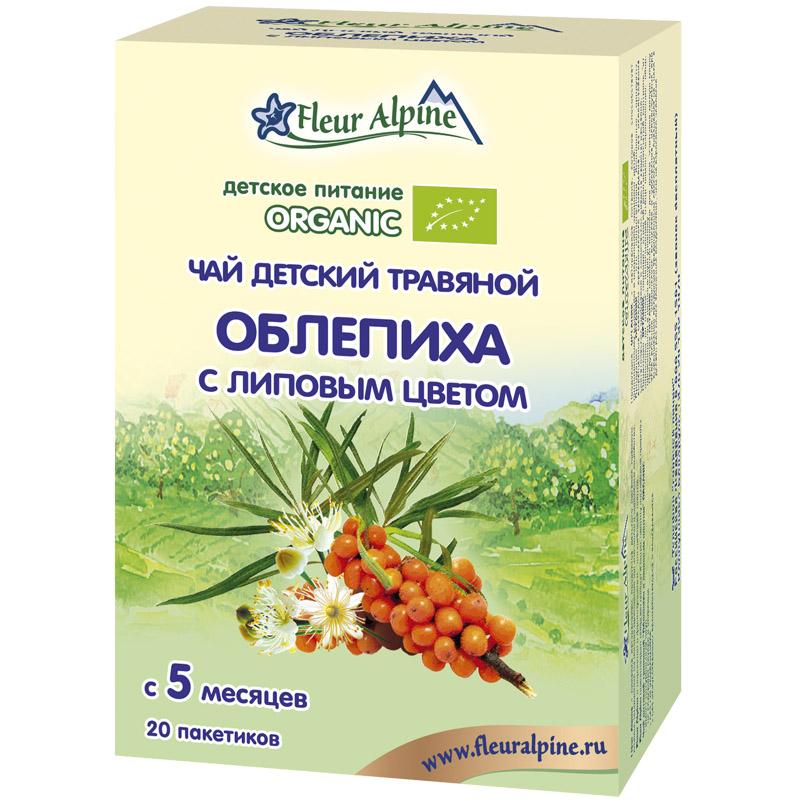 Чай детский Fleur Alpine Organic 30 гр (20 пакетиков) Облепиха с липовым цветом(с 5 мес)