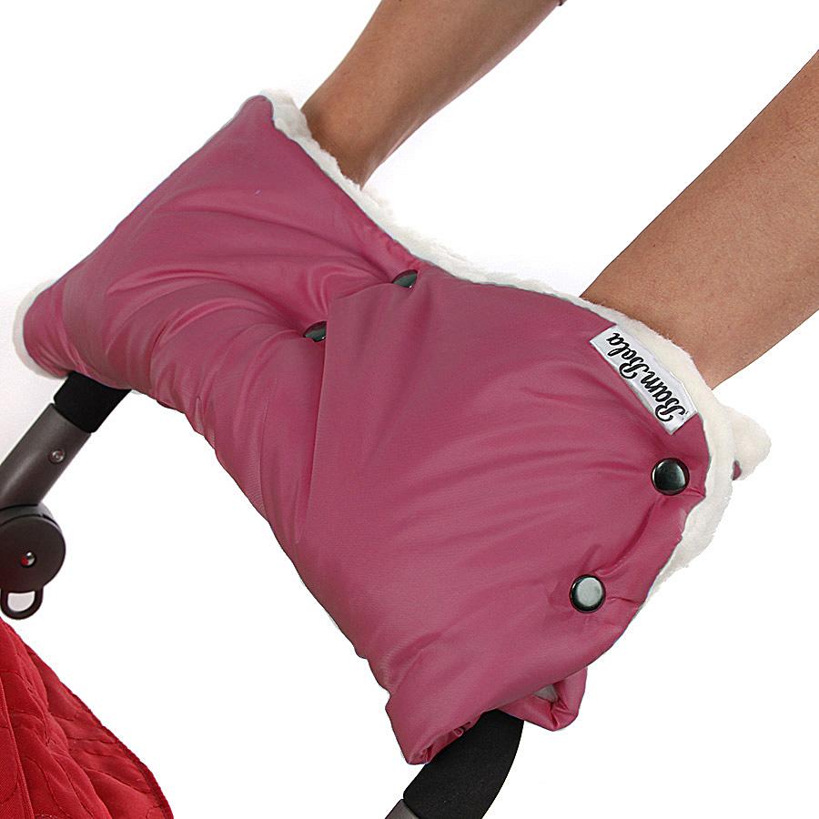 Муфта Bambola для коляски шерстяной мех плащевка кнопки Лайт Бордо<br>