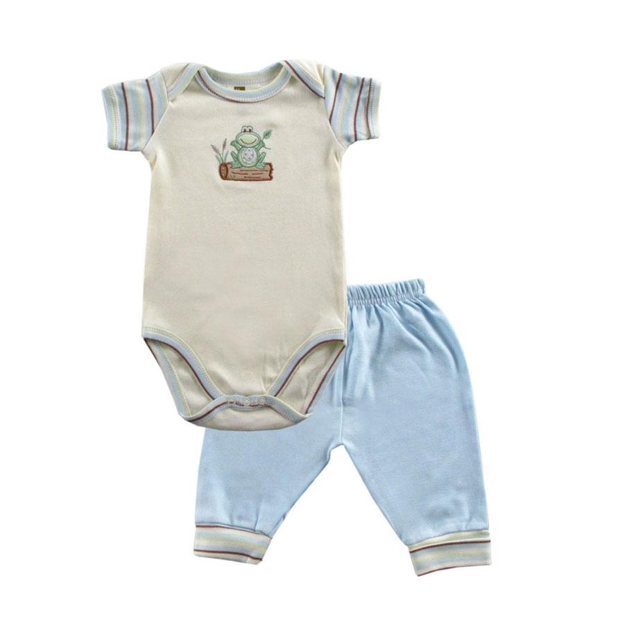 Комплект Hudson Baby Боди короткий рукав и штанишки Органик, 2 пр.. цвет голубой 0-3 мес. (55-61 см)
