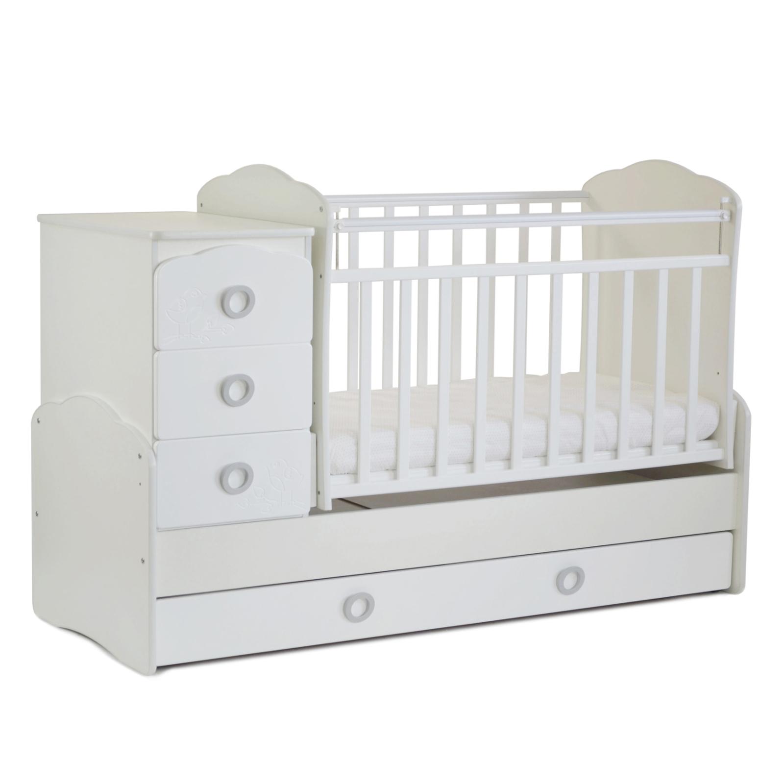 Кроватка-трансформер СКВ-компани - Птички, 94103 белый