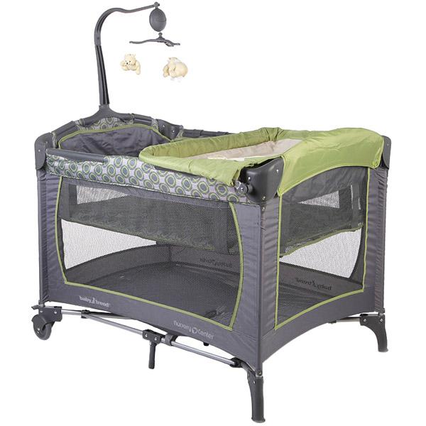 Манеж-кровать Baby Trend Серый и Зелёный<br>