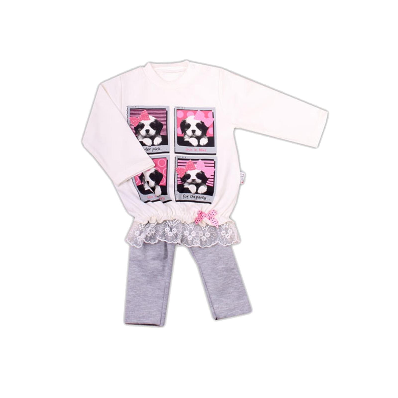 Комплект одежды Estella для девочки, брюки, туника, цвет - Экрю/серый Размер 74