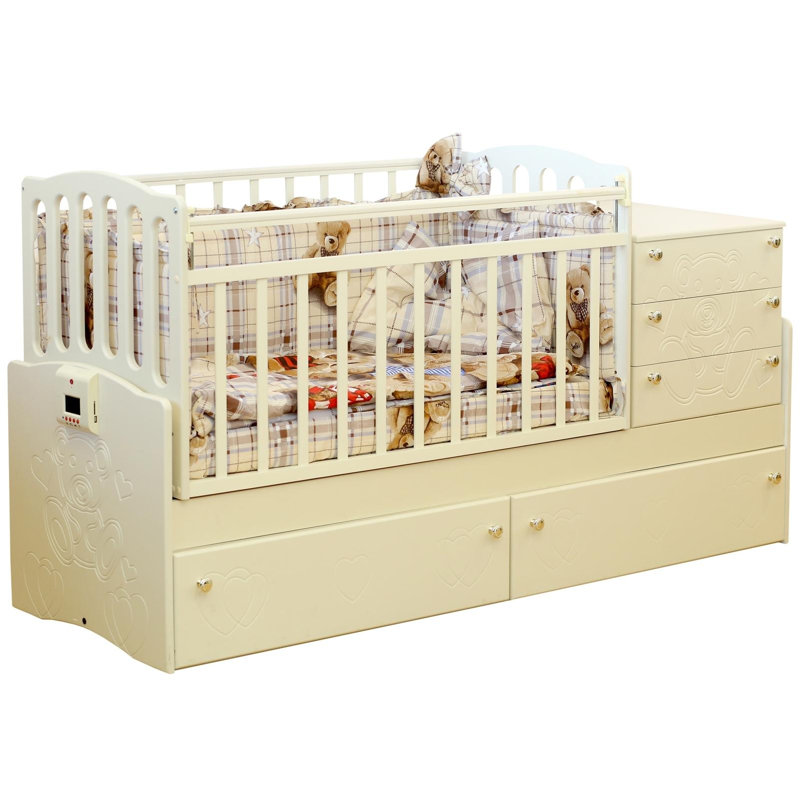 Кроватка-трансформер Daka Baby Укачай-ка 05 с механизмом Ваниль<br>
