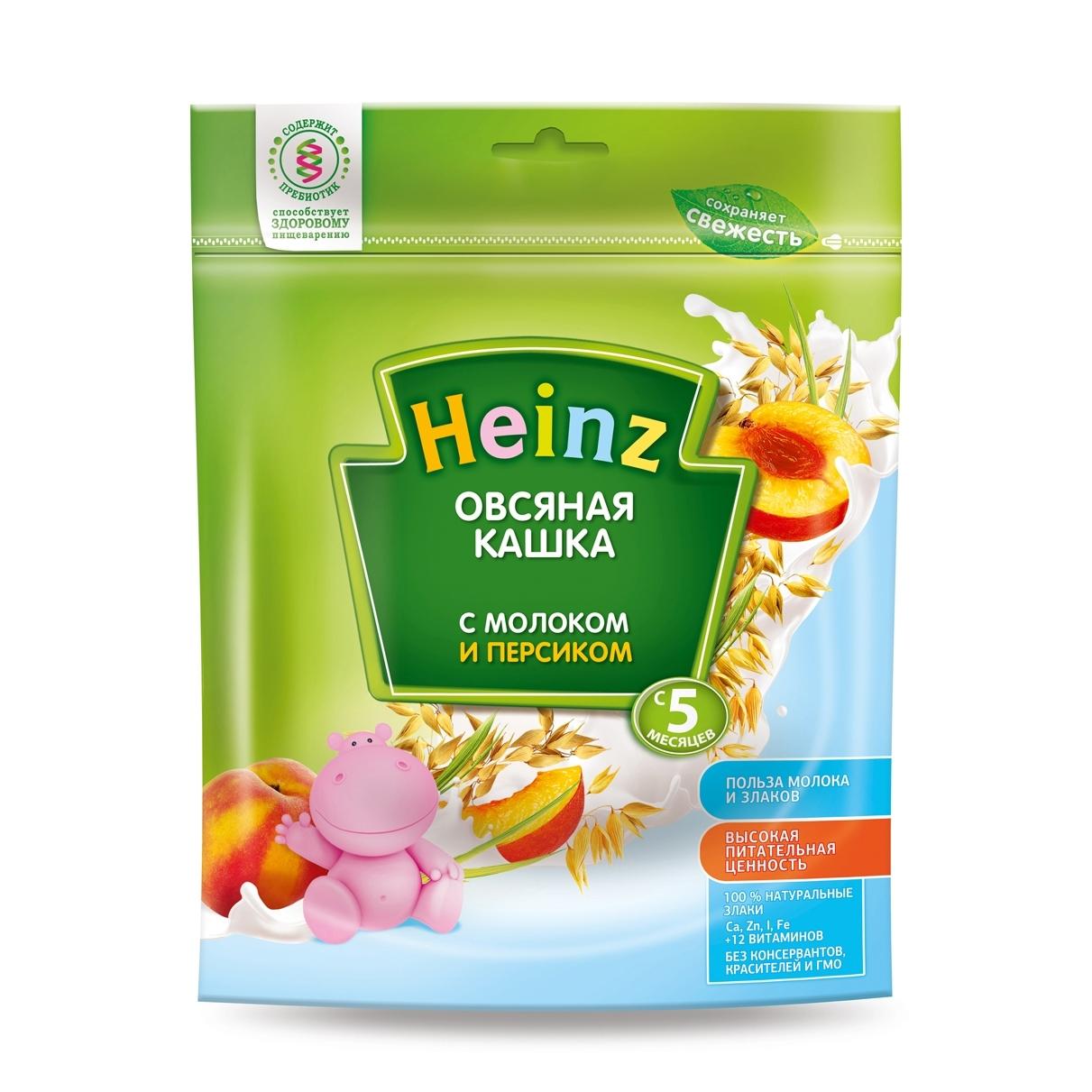 Каша Heinz молочная 250 гр Овсяная с персиком (с 5 мес)<br>