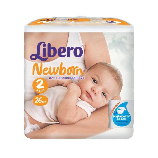 Подгузники Libero Newborn Mini 3-6 кг (26 шт) Размер 2<br>