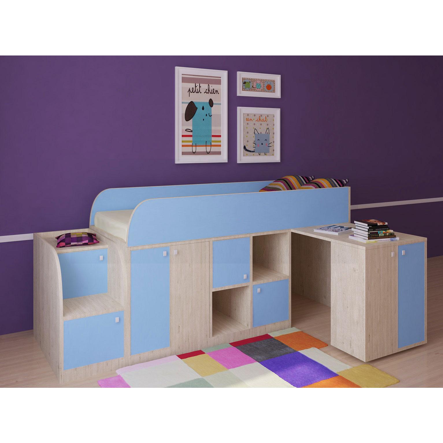 Набор мебели РВ-Мебель Астра мини Дуб молочный/Голубой