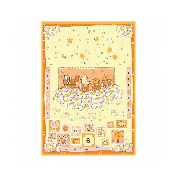 Одеяло Baby Nice байковое 100% хлопок 85х115 Паровозик (салатовый, бежевый)