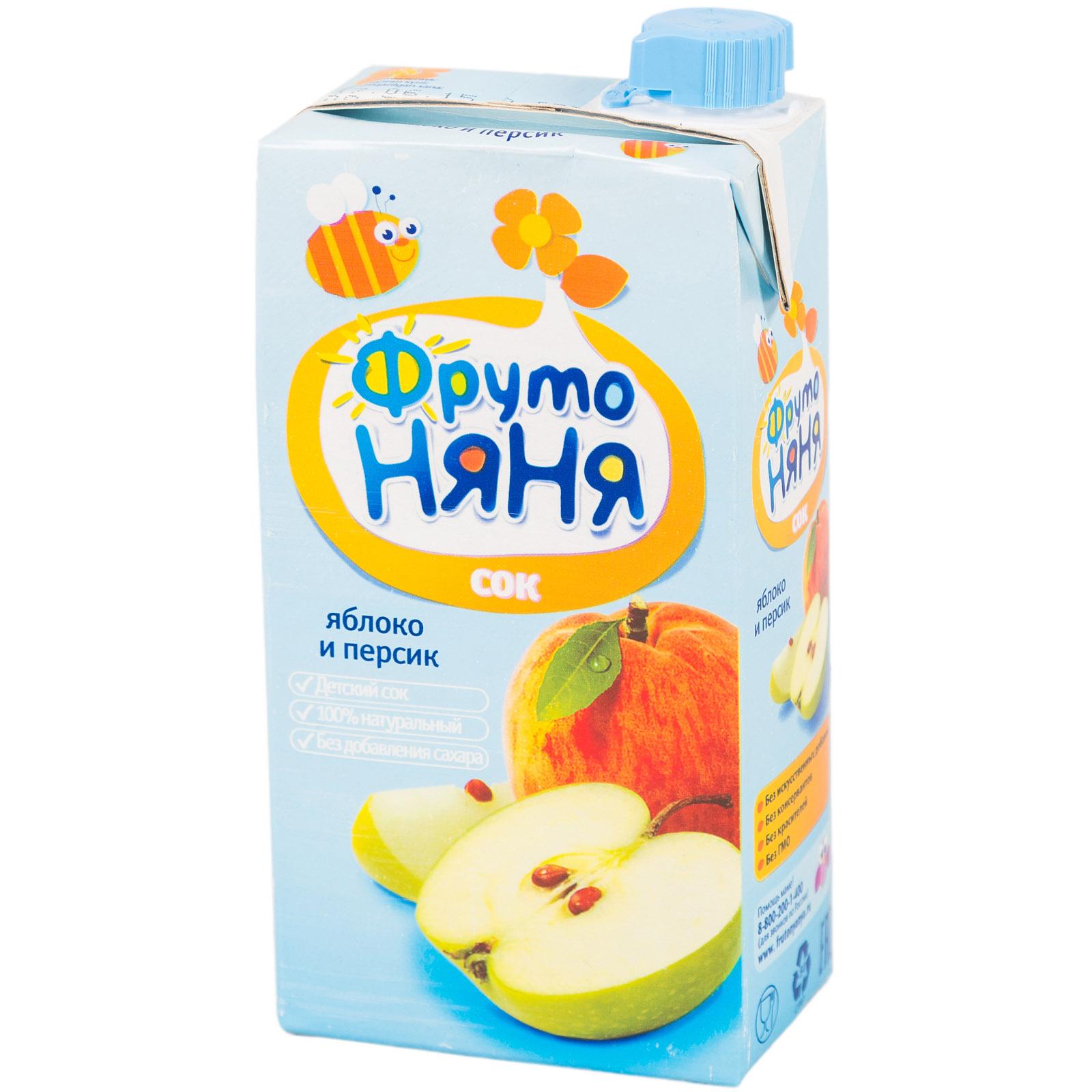 Сок Фрутоняня 500 мл Яблочно-персиковый с мякотью (с 3 лет)