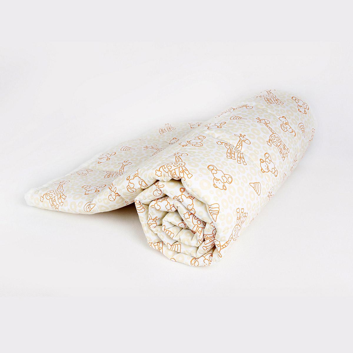 Одеяло Baby Nice стеганное файбер 200силиконизированный 105х140 Мишки и жирафы (бежевый, голубой)<br>