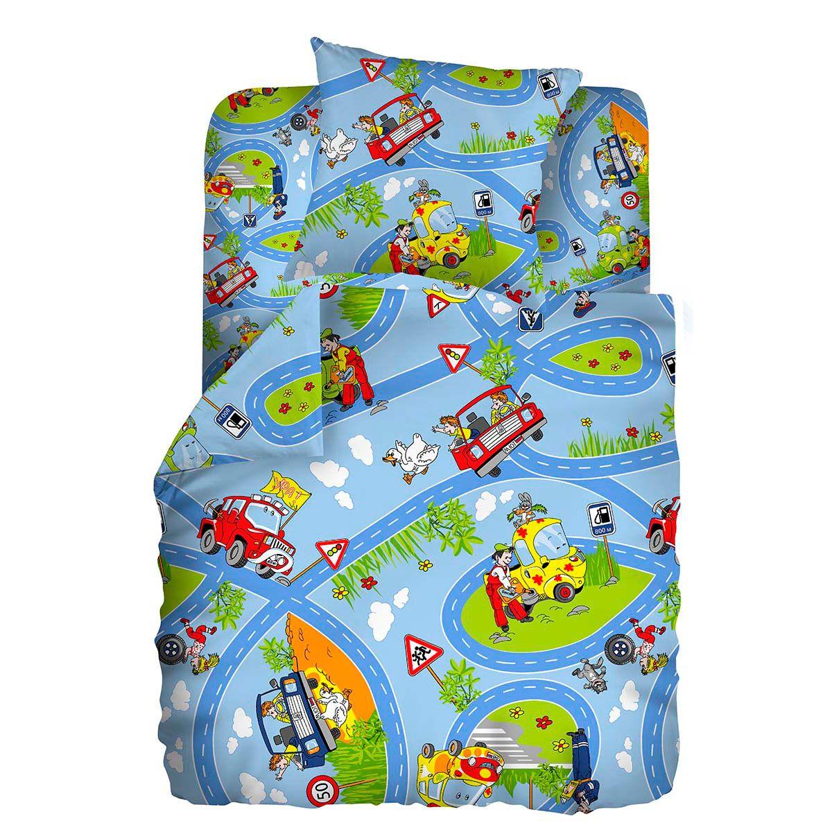 Комплект постельного белья детский бязь Непоседа Кошки-мышки Светофор<br>