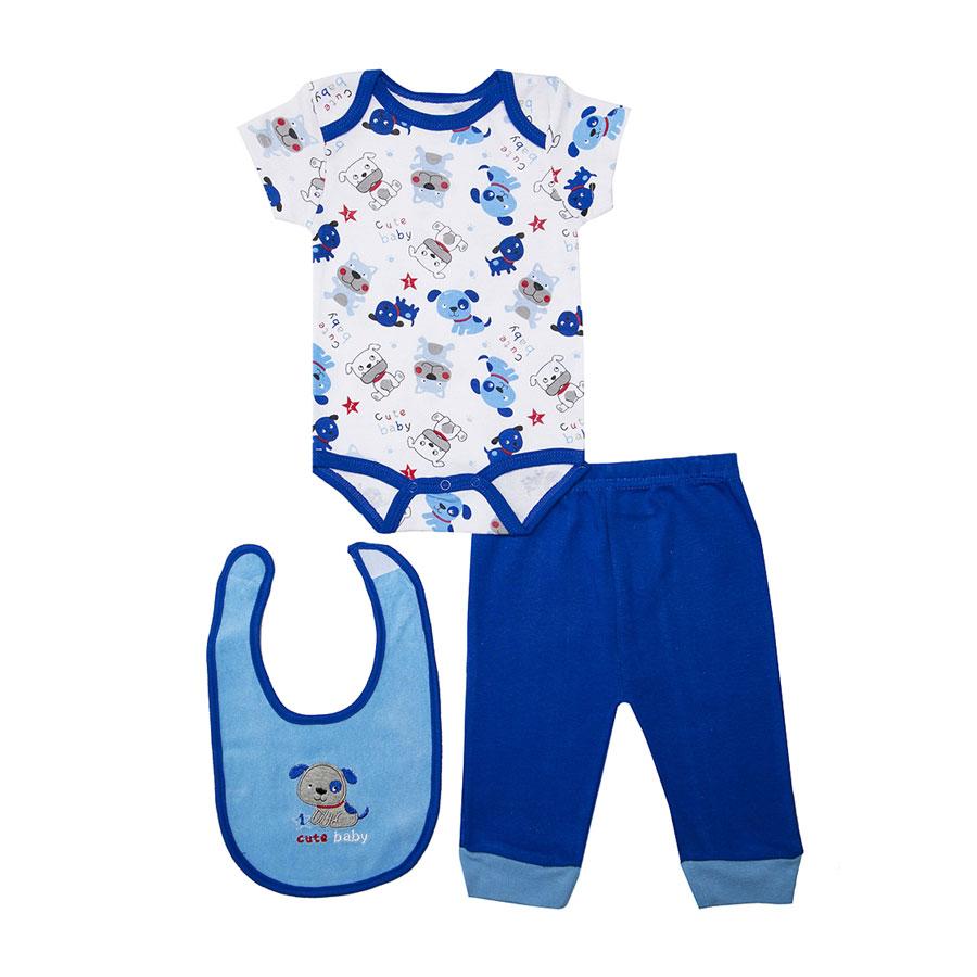 Комплект Bon Bebe Бон Бебе для мальчика: боди короткий,штанишки,нагрудник, цвет голубой-синий 3-6 мес. (61-67 см)