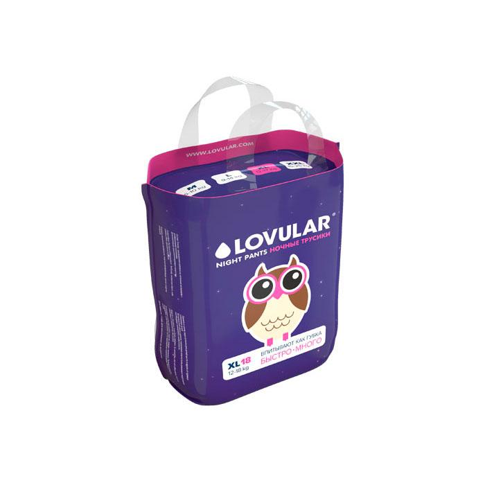 Трусики-подгузники LOVULAR ночные 12-17 кг 18 штук (XL)<br>