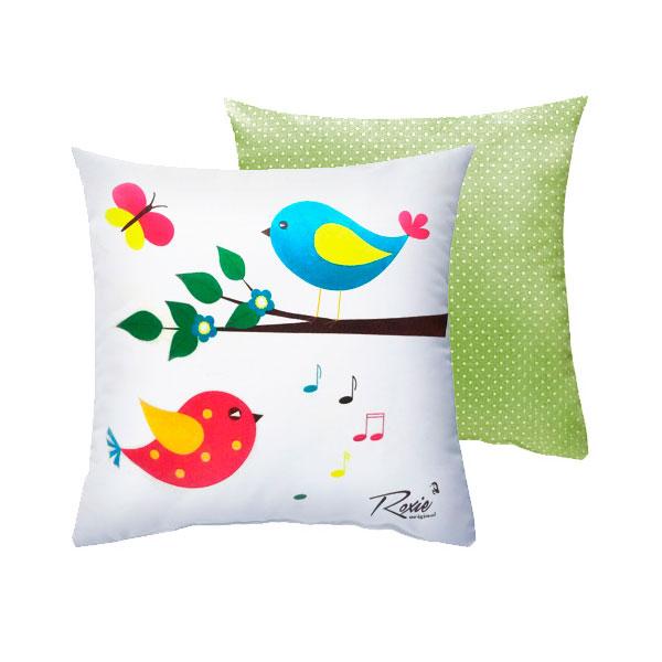 Подушка Roxie Птички с наволочкой на молнии Зеленый горох<br>