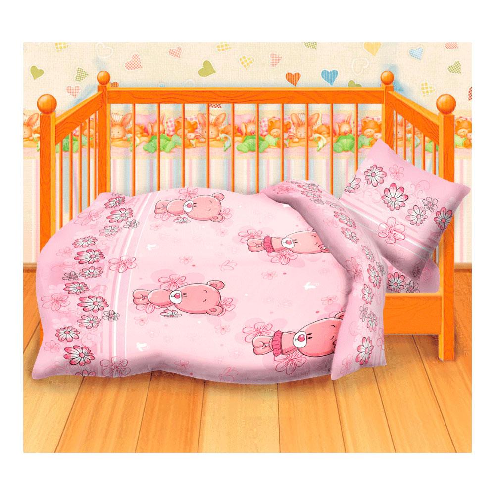 Комплект постельного белья детский бязь Непоседа Кошки-мышки КДКм-1 Мишутки розовый