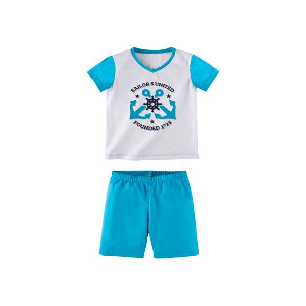 Комплект для мальчика Наша Мама (футболка, шорты) рост 92 белый с голубым<br>