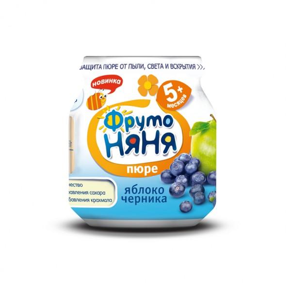 Пюре Фрутоняня фруктовое 100 гр Яблоко черника (с 5 мес)<br>