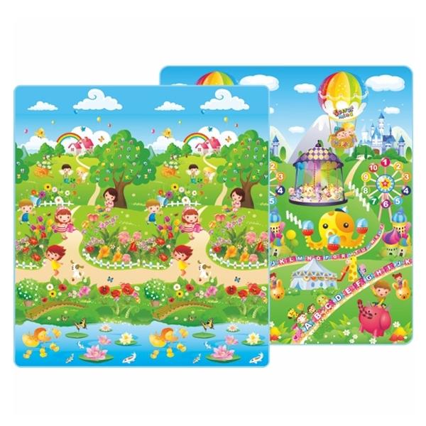 Детский развивающий коврик Mambobaby двухсторонний Дети в парке и Лунапарк 200х180х1<br>