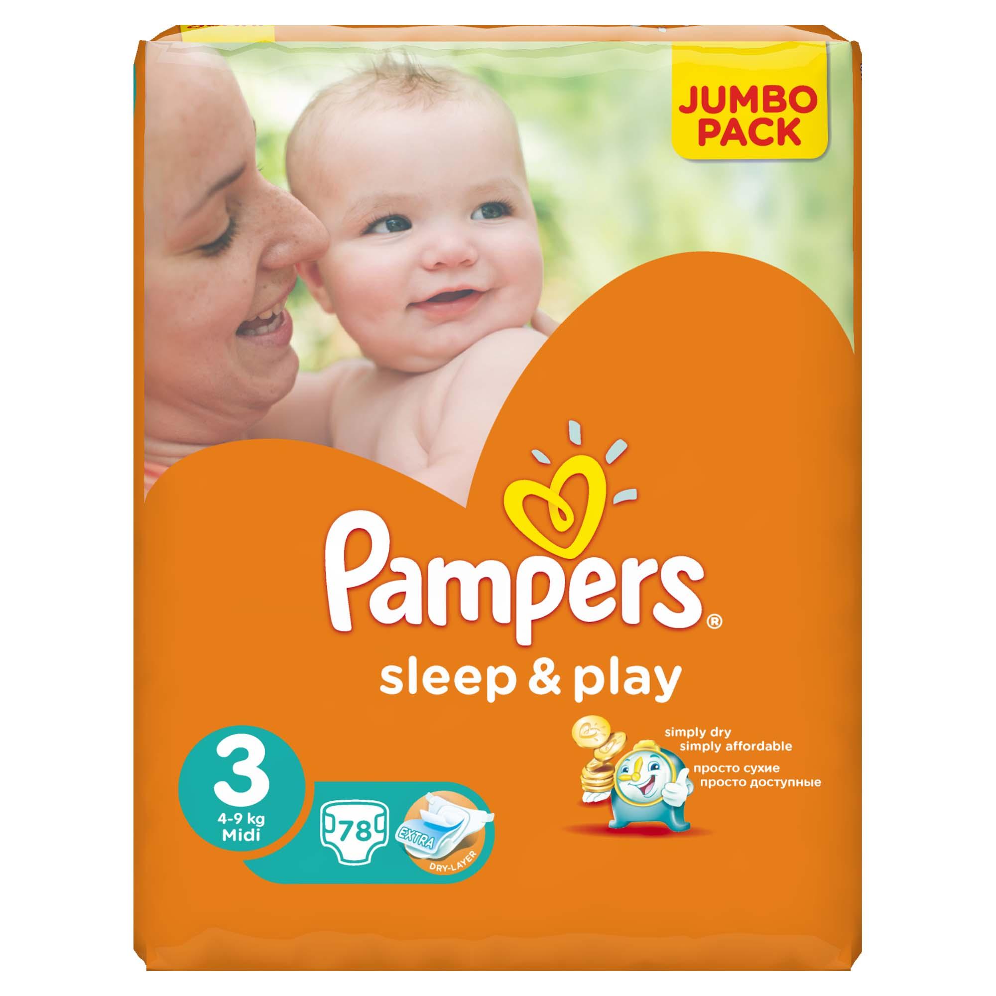 Подгузники Pampers Sleep&Play Midi 4-9 кг (78 шт) Размер 3
