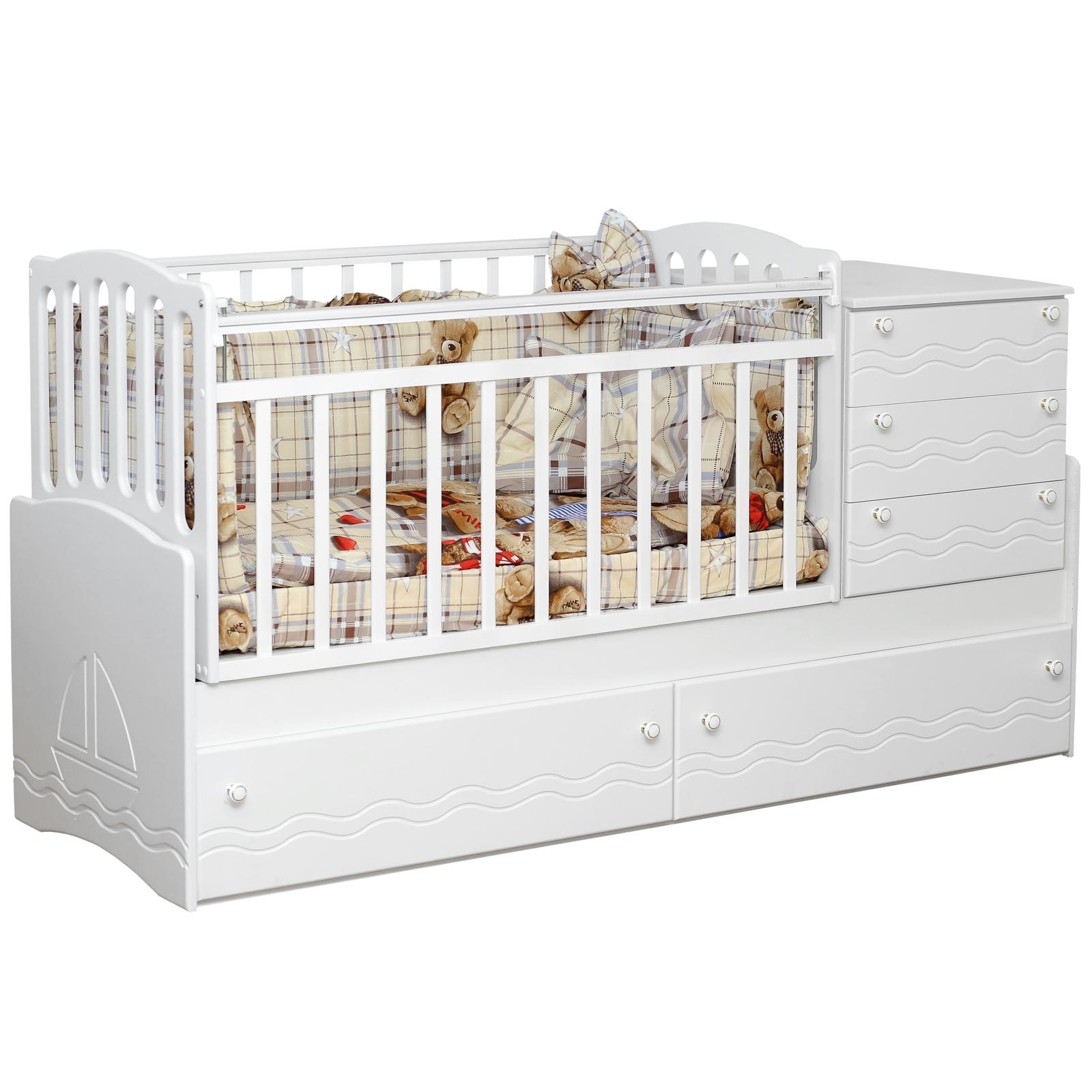 Кроватка-трансформер Daka Baby Укачай-ка 04 без механизма Белый<br>