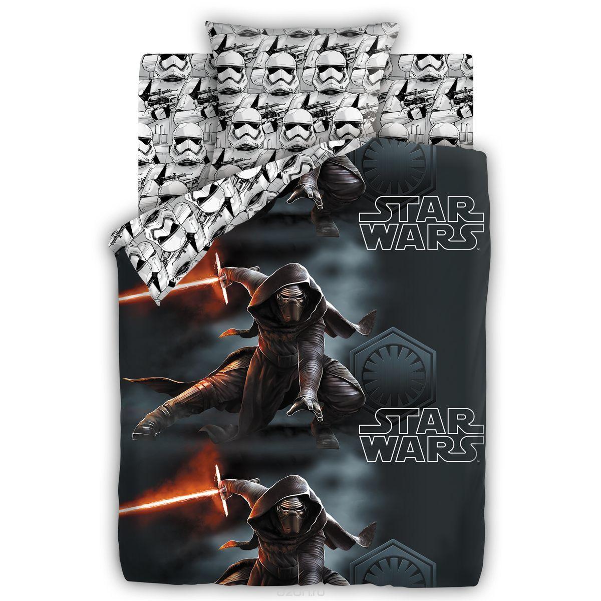 Комплект постельного белья детский 1.5 бязь Непоседа Star Wars с наволочкой 70х70 Кайло Рен и Штурмовики<br>