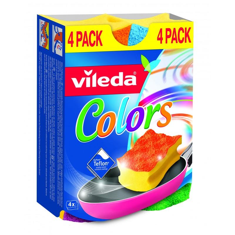 Губка Vileda Pur Colors высокий поролон 4шт<br>
