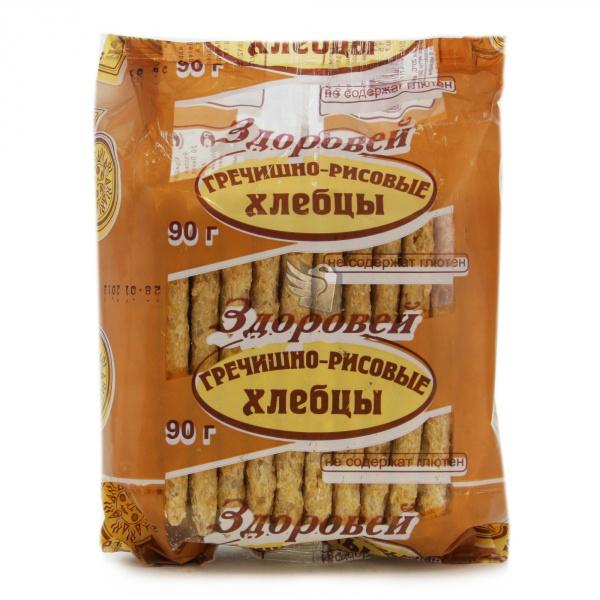 Хлебцы Здоровей без глютена 90 гр Гречневые с рисом<br>