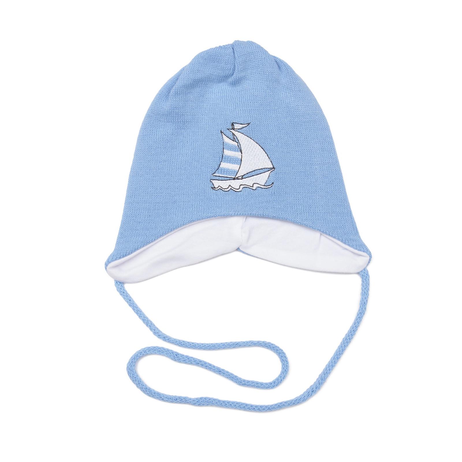 Шапка Aliap c корабликом, цвет - Голубой Размер 39-41
