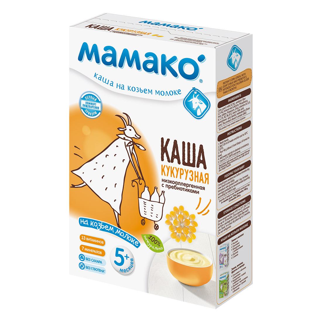 Каша Mamako на козьем молоке 200 гр Кукурузная с пребиотиками (с 5 мес)