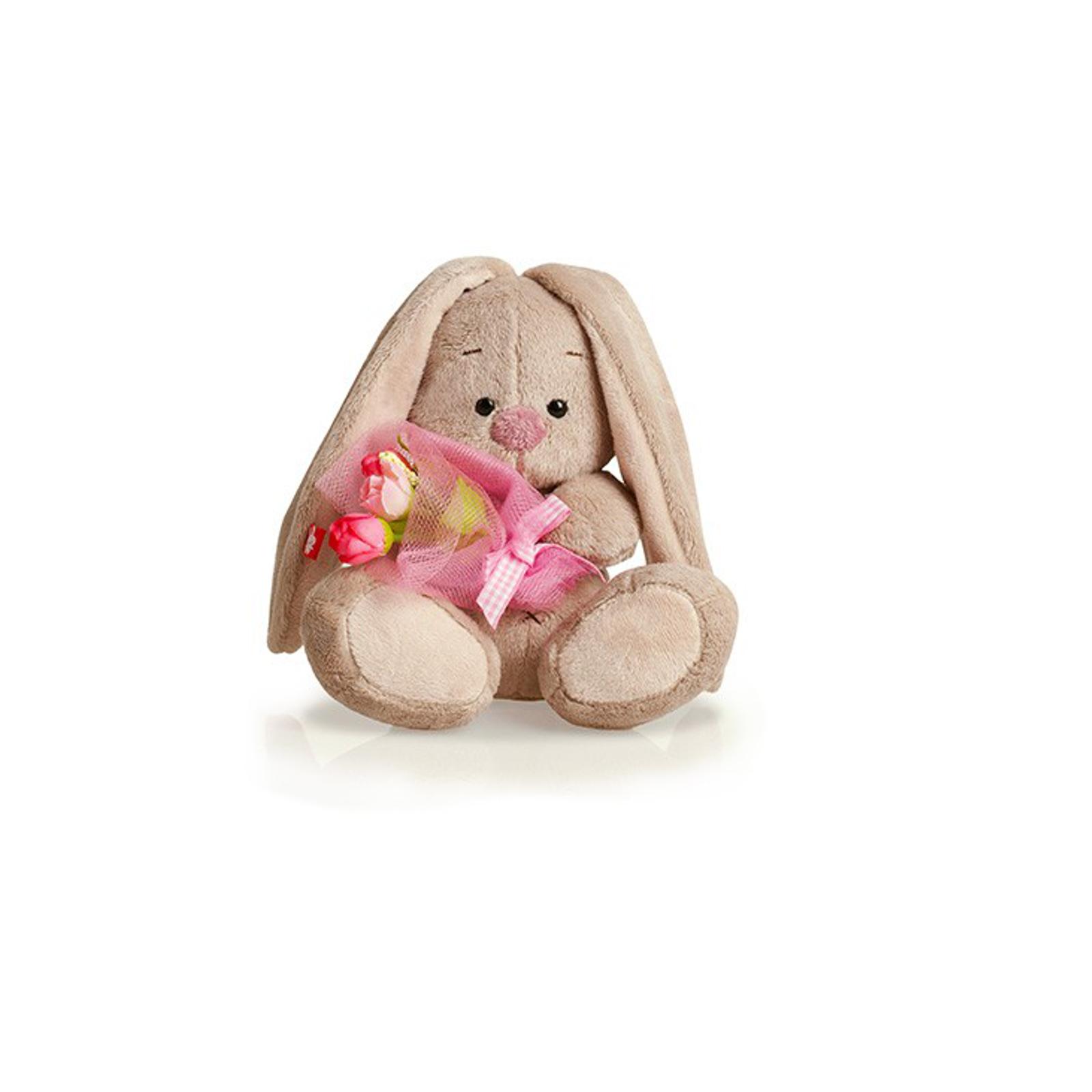 Мягкая игрушка Зайка Ми с розовым букетом 15 см