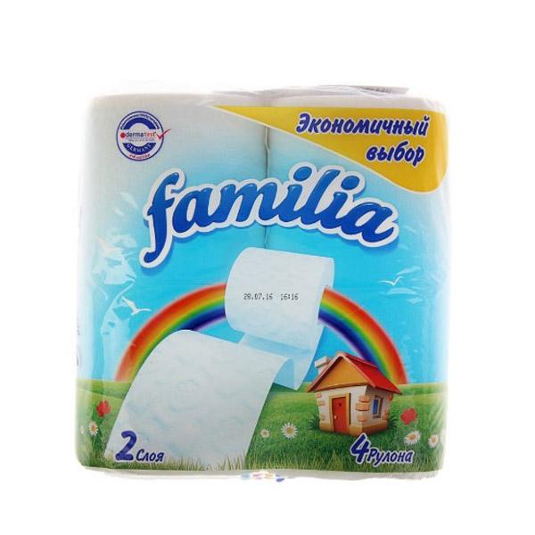 Туалетная бумага Familia белая (2 слоя) 4 шт<br>