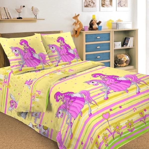 Комплект постельного белья детский Letto Принцесса 1.5 спальный с наволочкой 50х70