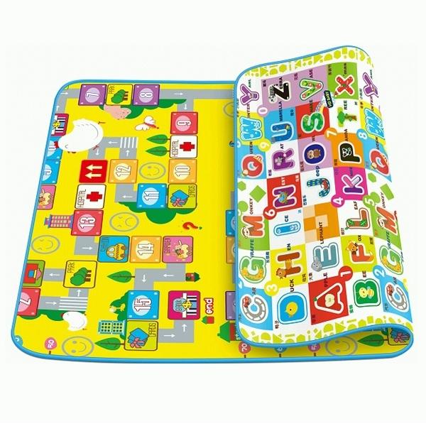 Детский развивающий коврик Mambobaby двухсторонний Головоломка и Мир букв 200х160х2<br>