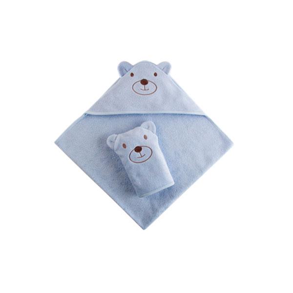 Набор Наша Мама Мишка (полотенце-уголок и рукавичка) голубая махра<br>