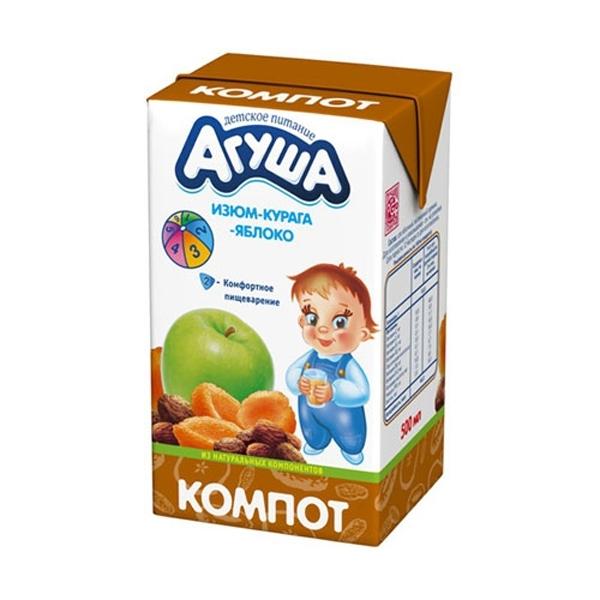 Компот Агуша 500 мл (тетрапак) Изюм курага яблоко (с 8 мес)