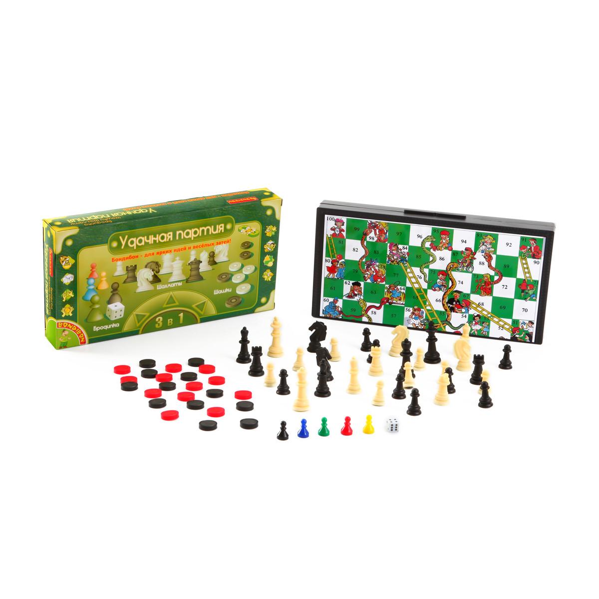 Настольная игра Bondibon Удачная партия набор шашки, шахматы, бродилка<br>