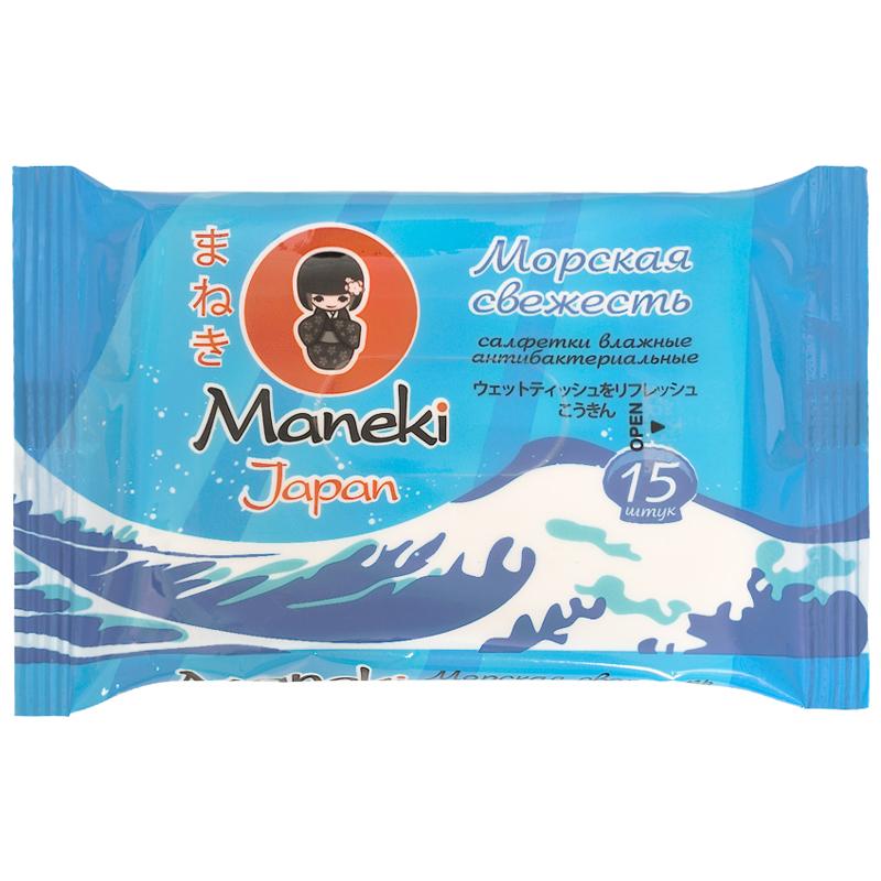 Салфетки влажные Maneki Kaiteki Морская свежесть антибактериальные 15 шт