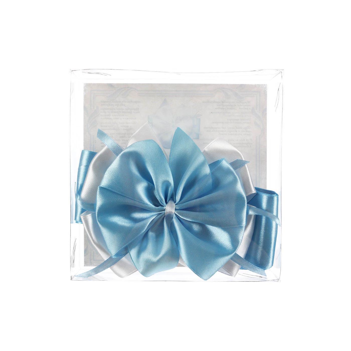 Крестильный набор Мой цветочек бант атласный Синий<br>