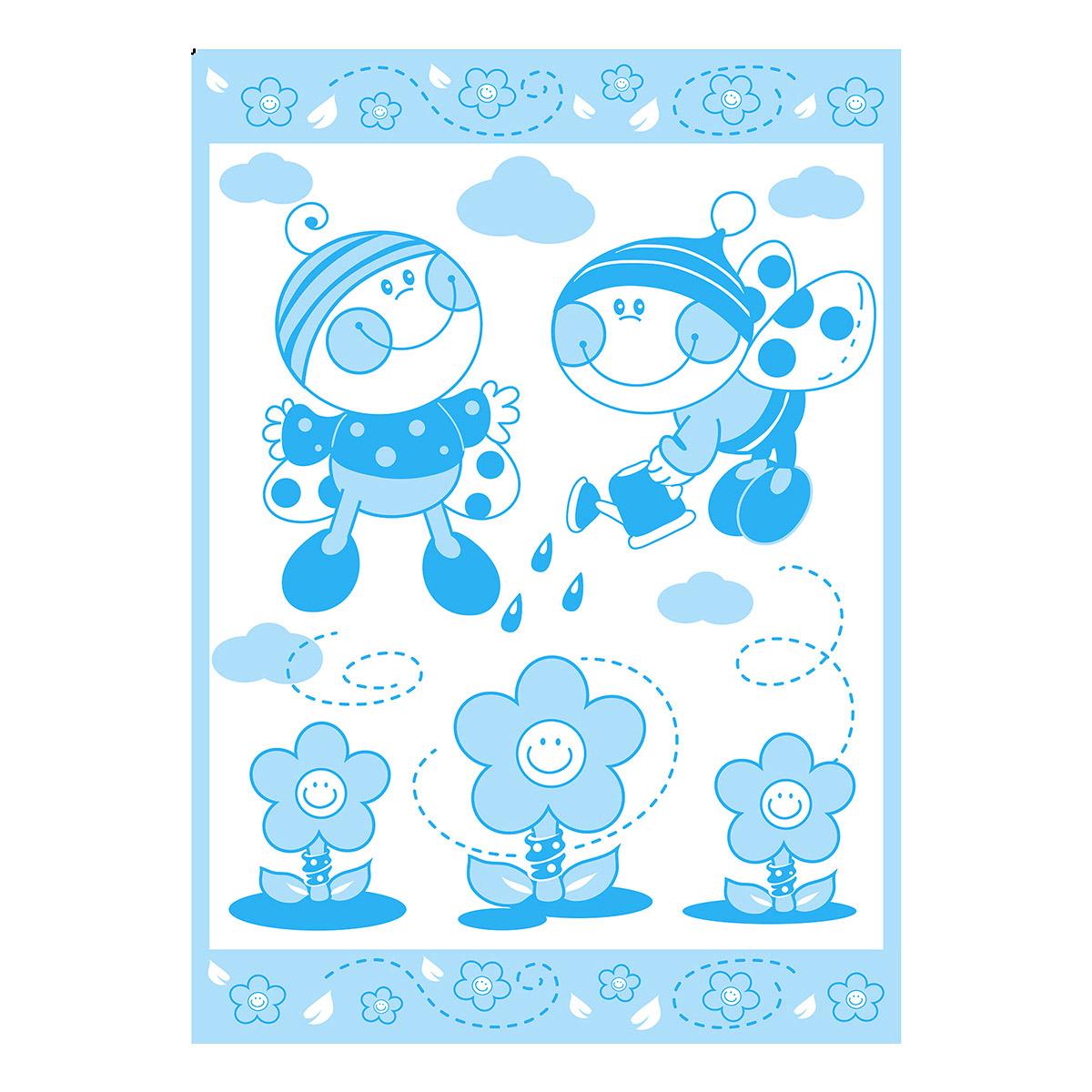 Одеяло Споки Ноки байковое 100% хлопок 100х140 жаккардовое Букашки (голубой, желтый розовый)<br>