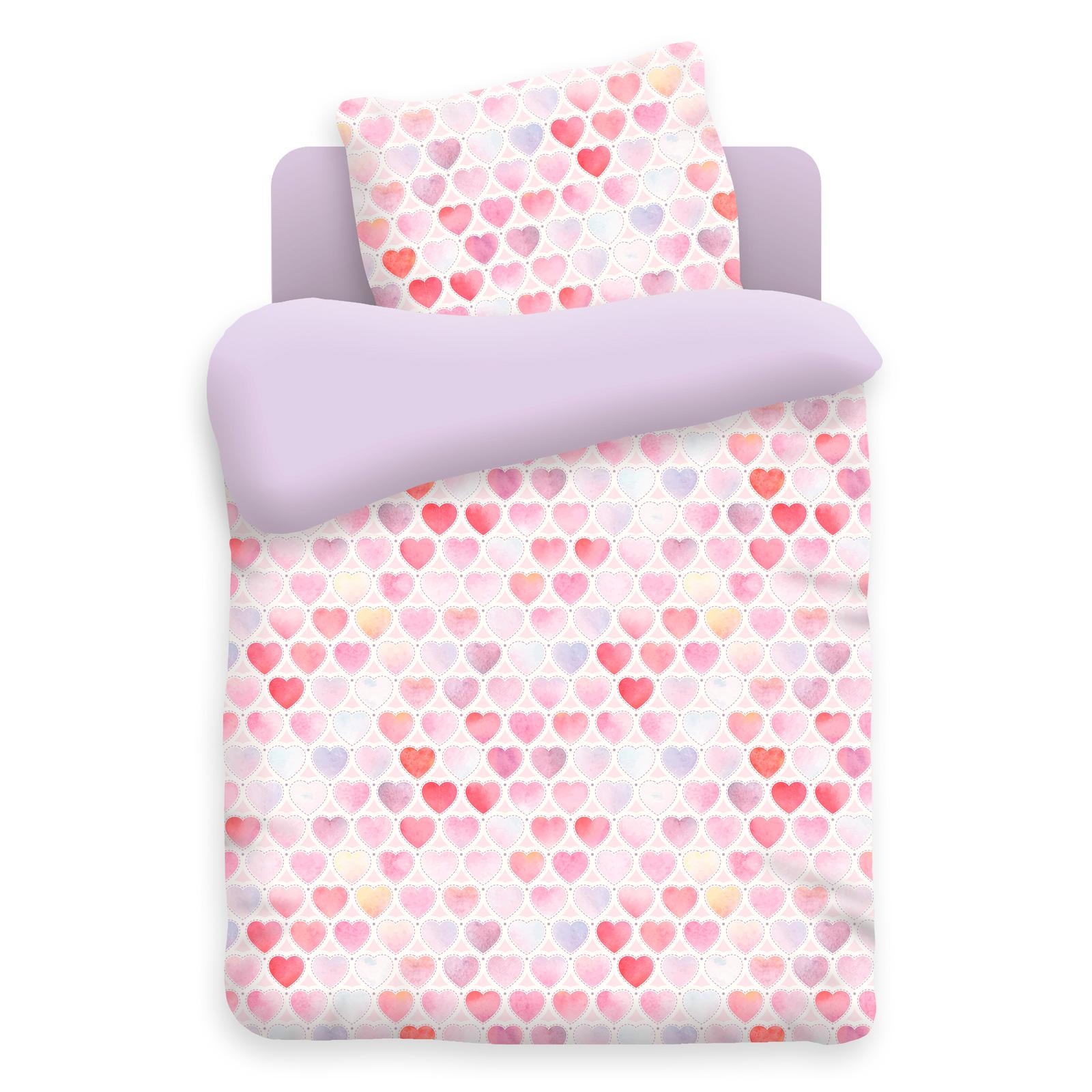 Комплект постельного белья детский бязь Непоседа Н/У на резинке Фиолетовый Сердечки<br>
