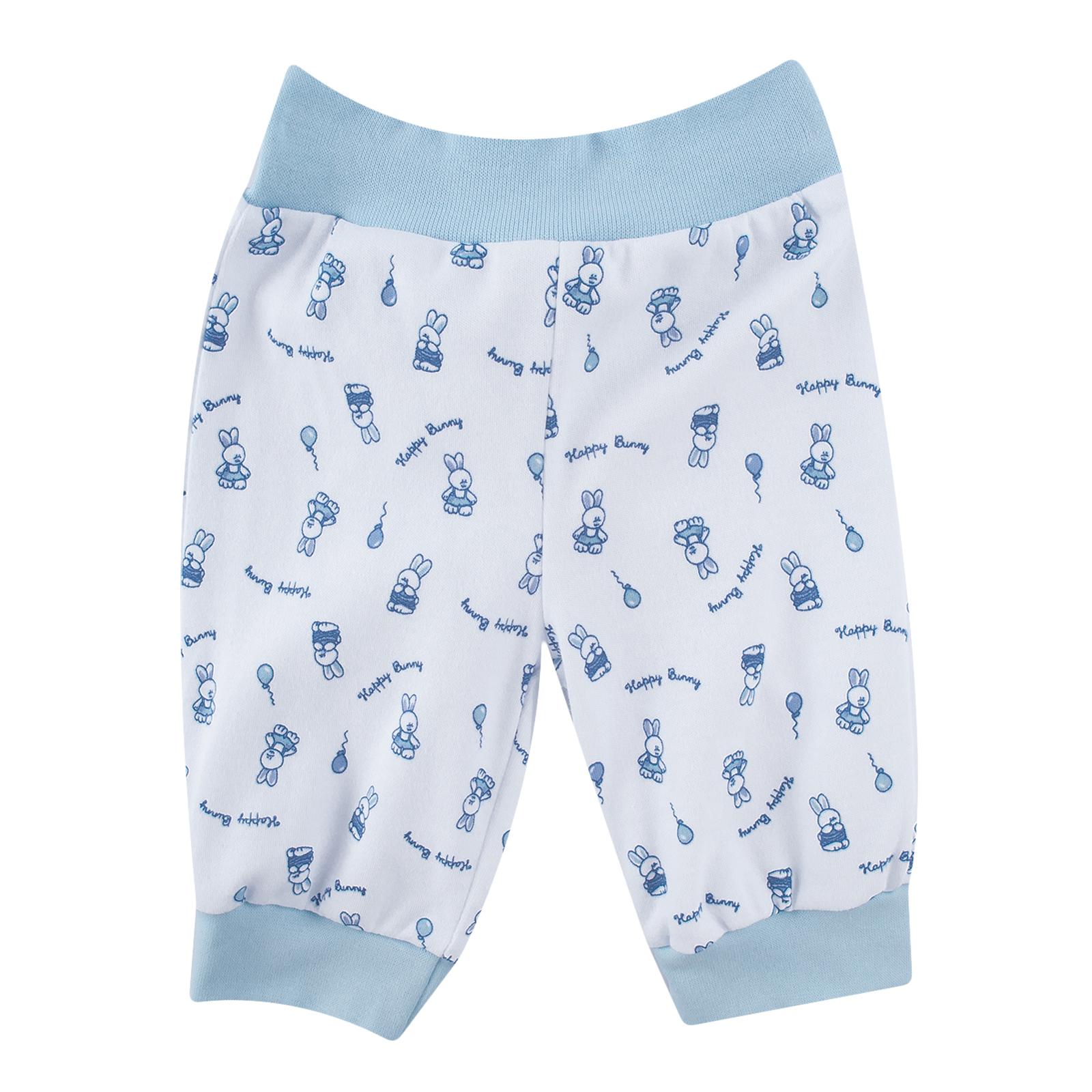 Штанишки КОТМАРКОТ для мальчика, цвет набивка голубой тон 3-6 мес (размер 68)